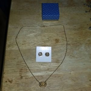 NEW AVON GOLDTONE & BLACK NECKLACE & EARRINGS